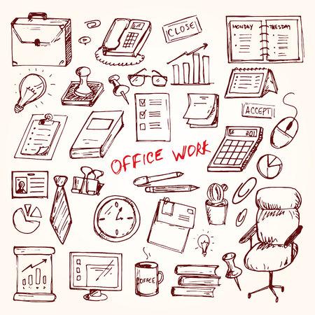 businesslike: Set of elemets of work in office. Vector illustration