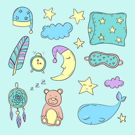toy story: Set of elements about sleeping. Vector illustration Illustration