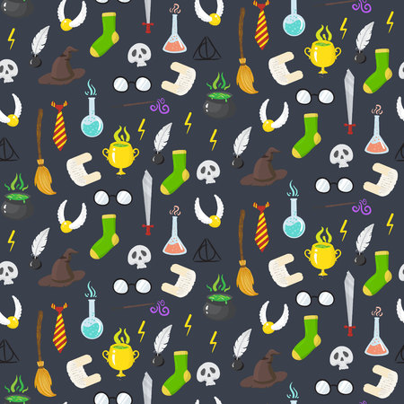 Seamless pattern with different magic elements for witches in cartoon style. Vector illustratio Иллюстрация