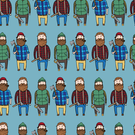 virile: Seamless pattern with cute lumberjacks. Vector illustration