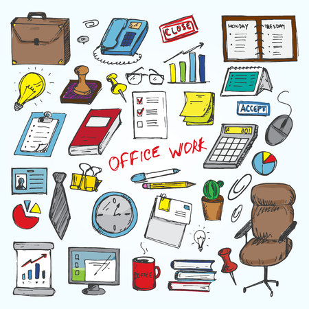 clerical: Set of elemets of work in office. Vector illustration