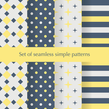 Seamless ancstract geometry pattern with stars, squares, dots anf stripes. Vector illustration