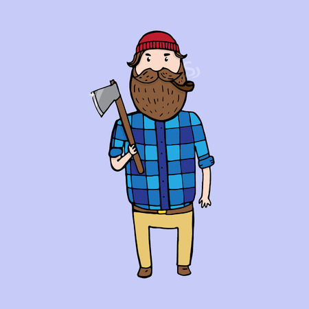 virile: Cute bearded lumberjack with an axe. Vector illustration