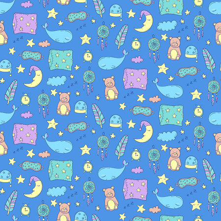 lullaby: Seamless pattern with sleeping whales, pillows, stars, etc. Vector illustration