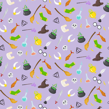 Seamless pattern with different magic elements for witches in cartoon style. Vector illustratio Illustration
