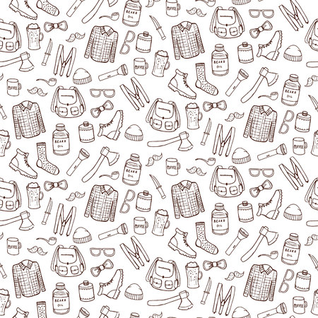 Seamless pattern with lumbersexual elements. Vector illustration