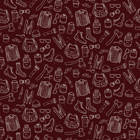 manful: Seamless pattern with lumbersexual elements. Vector illustration