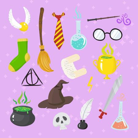 éléments magiques différents pour les sorcières dans le style de bande dessinée. Vector illustration Vecteurs