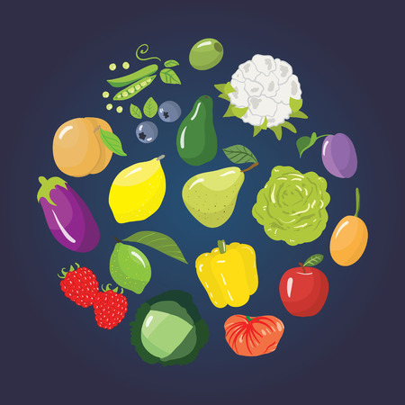 stockpile: Set of different fruits, vegetables and berries. Vector illustration Illustration