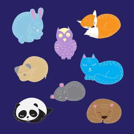 cuddle: Set of cute sleeping animals. Vector illuatsrtion Illustration