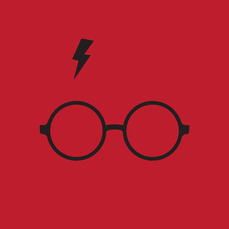 potter: Round glasses and lighting. Vector illustration