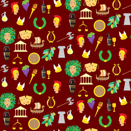hydra: Seamles pattern with elements of ancient Greece. Vector illustration