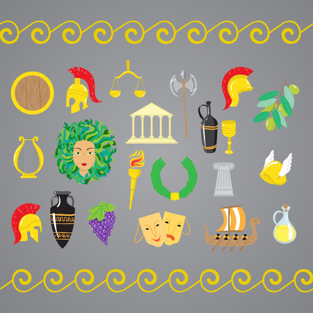 Set of ancient Greece elements. Vector illustration Çizim