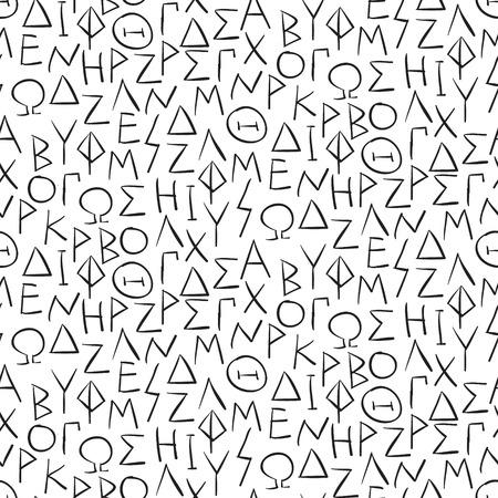 garabatos: Patrón sin fisuras con las letras greel en la ilustración vectorial de la pared