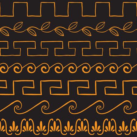 arte greca: Seamless pattern con ornamenti antichi greci illustrazione vettoriale Vettoriali