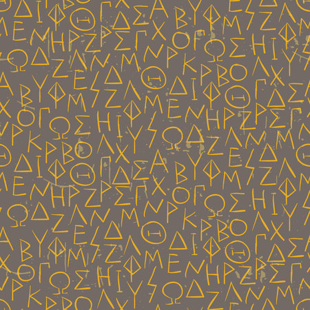 cuneiform: Seamless pattern with greel letters on the wall Vector illustration Illustration