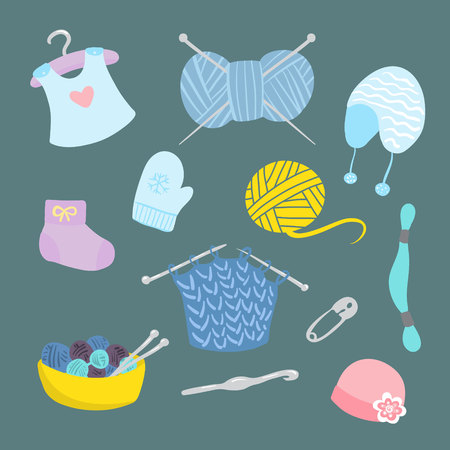knitting for babies set. vector illustration