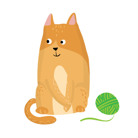clew: Ginger isolated cat and clew Vector illustration Illustration