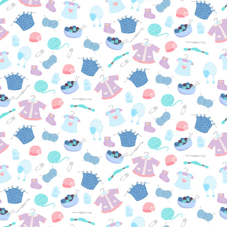 bootees: Seamless pattern with knitting for babies elements vector illustration Illustration