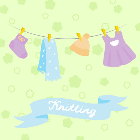 darning: knitting for babies set. vector illustration