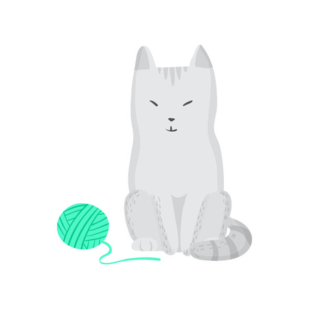 grey cat: Grey isolated cat and clew Vector illustration