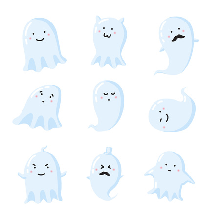 impish: set of different cute ghosts. Vector illustration