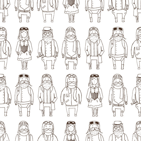 pilots: Seamless pattern with cute steampunk pilots. Vector illustration
