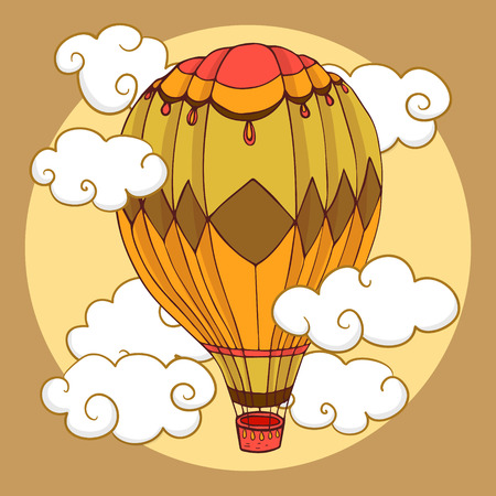 Vintage coloured balloon in clouds, vector illustration Çizim
