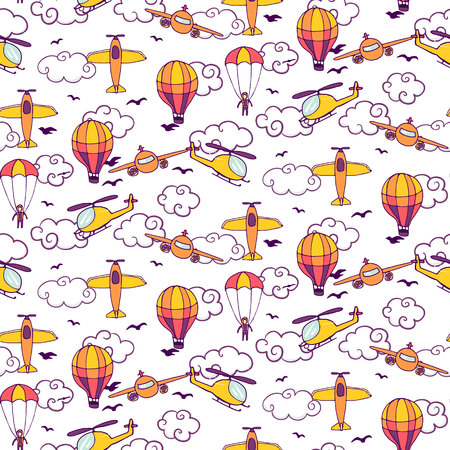 twin engine: Seamless vintage pattern with balloons, planes and helicopters. Vector illustration
