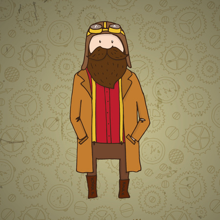 steampunk goggles: Cute steampunk pilot with beard. Vector illustration