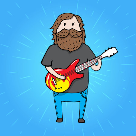 musicality: Bearded man from a rick band with a giutar.