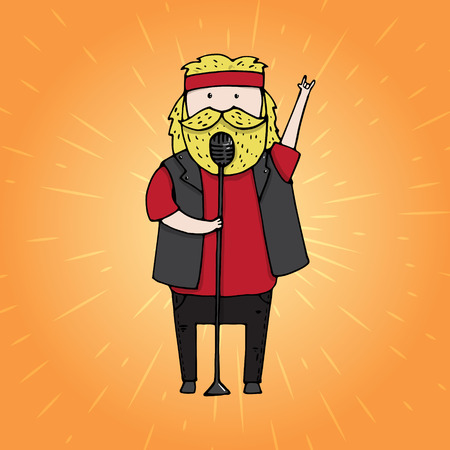 musicality: Singing bearded man from a rock band. Illustration