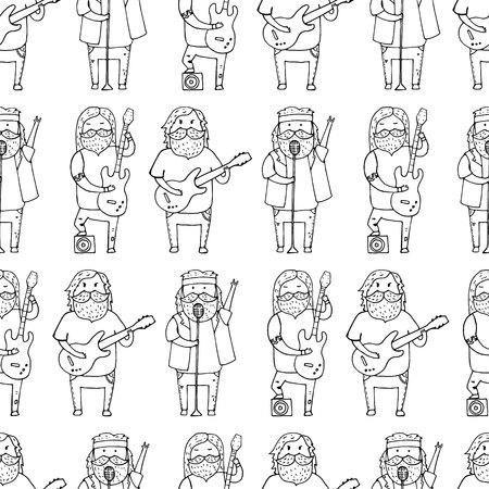 melodic: Seamless pattern with cute bearded men from a rock band. Illustration
