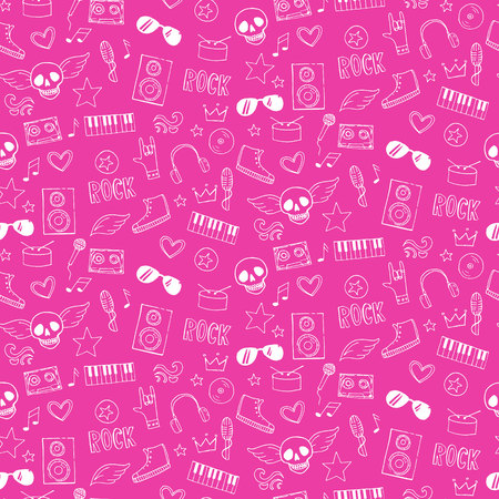 emo: Seamless pattern with rock and emo music teen elements.