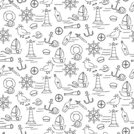 camber: Seamless pattern with different elements for sea travelling. Vector illustration