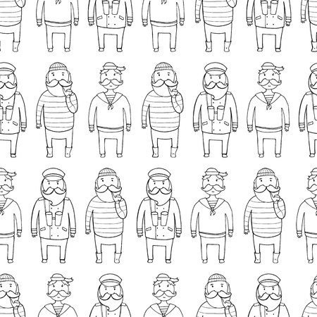 crew: Seamless pattern with a ship crew, captain and sailors. Vector illustration