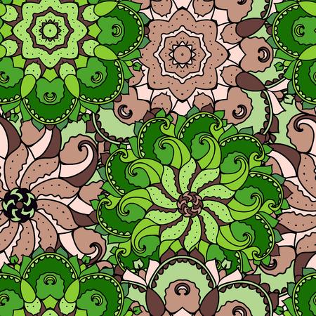 Ethnic arabic, indian ornament. Hand drawn seamless pattern. Vector illustration.