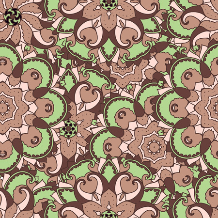 民族のアラビア語、インドの髪飾り。手描きのシームレスなパターン。ベクトルの図。
