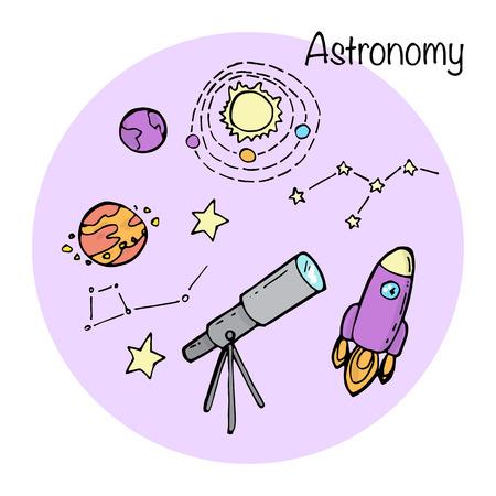 astronomy: Set of studying elements. Astronomy topic. Illustration