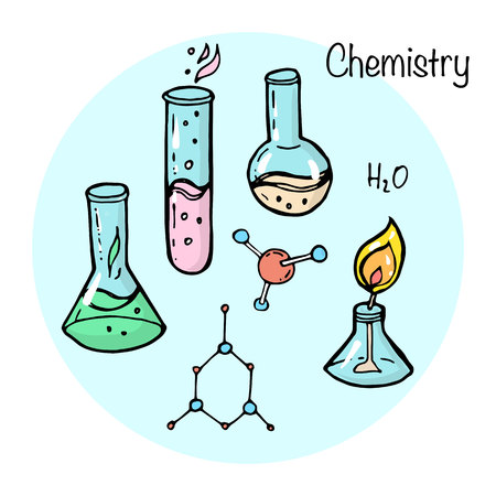 Set of studying elements. Chemistry topic.