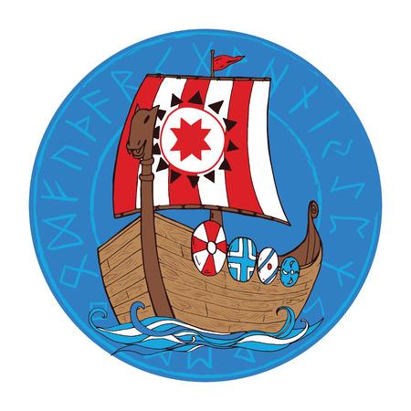 blue waves vector: Viking scandinavian draccar on blue waves. Vector illustration