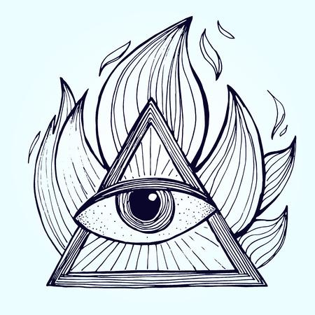 背景の上に火のピラミッドの目。錬金術のフリーメーソンのシンボル。ベクトル図