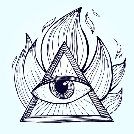 clairvoyant: An eye with pyramid in fire on background. Alchemy masonic symbol. Vector illustration