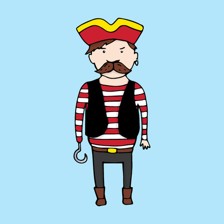 rob: Cute pirate in sketch style. Vector illustration Illustration