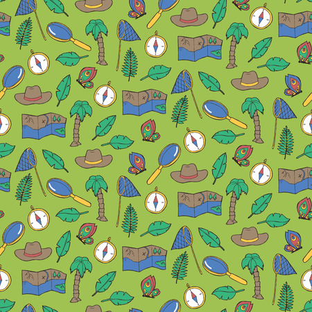 exploring: Seamless pattern with exploring elements. Vector illustration