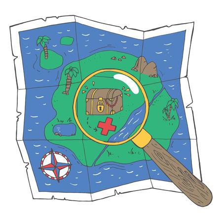 Een kaart met een schat en een loupe. vector illustratie Vector Illustratie