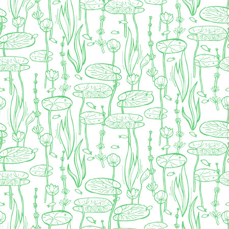 Seamless pattern with water and underwater plants. Vector illustration Illustration