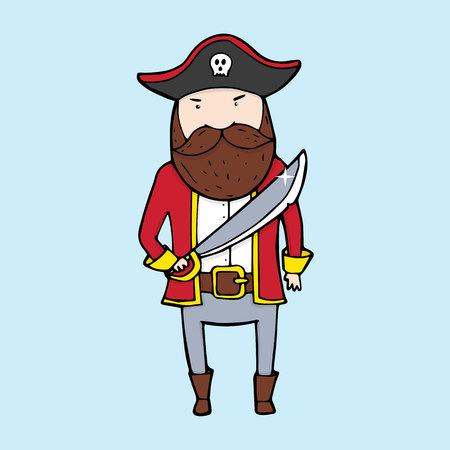 swindler: Cute pirate in sketch style. Vector illustration Illustration