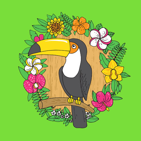 tucan: Tucan in a wreath of tropical flowers. Vector illustration