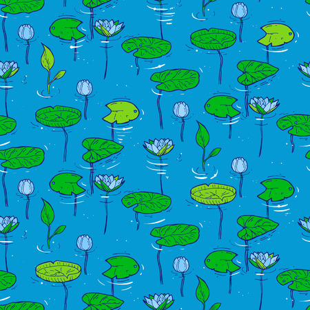 subaqueous: Seamless pattern with water and underwater plants. Vector illustration Illustration